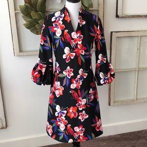 Black tropical print dress size S